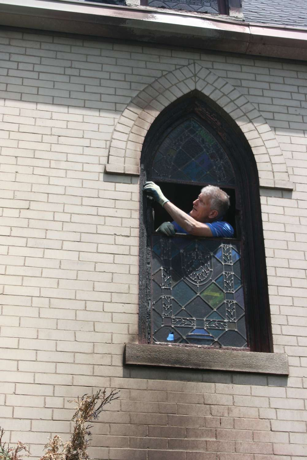 Phil removing a window