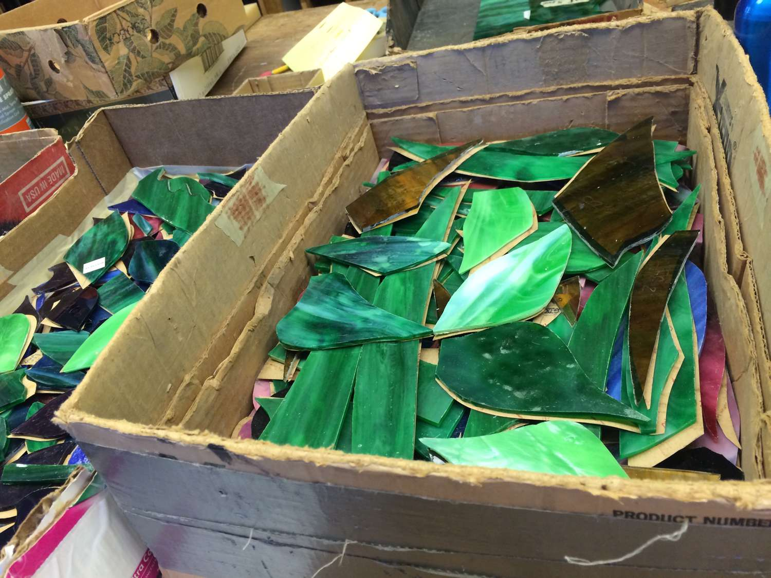 boxes of cut glass